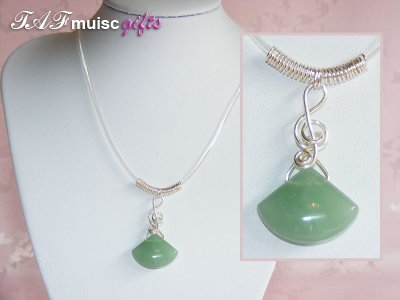 Today's featured music jewellery: Green stone Necklaces